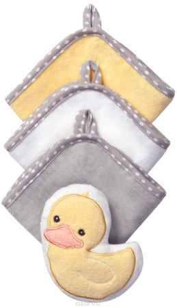 Купить BabyOno Набор для купания Утка Губка 3 салфетки цвет желтый