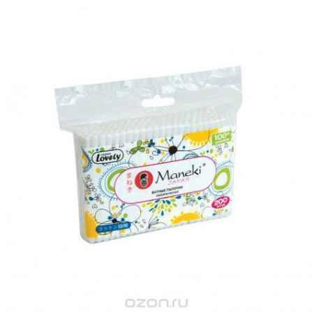 Купить Maneki Палочки ватные гигиенические Lovely, с белым пластиковым стиком, упаковка с zip-замком 200 шт.