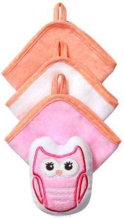 Купить BabyOno Набор для купания Сова Губка 3 салфетки цвет розовый