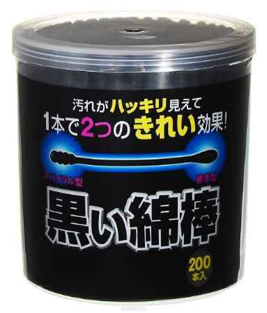 Купить Cotton Labo Ватные палочки черные с аппликаторами двух видов Cotton Labo 200шт