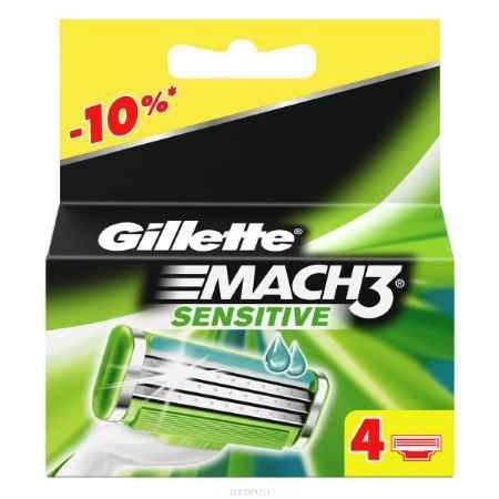 Купить Сменные кассеты для бритья Gillette Mach 3 Sensitive, 4 шт.