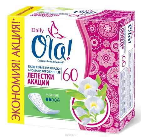Купить Ola! Daily DEO (Лепестки акации) Прокладки, 60 шт