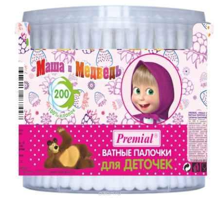 Купить Маша и Медведь Ватные палочки цилиндрические 200 шт
