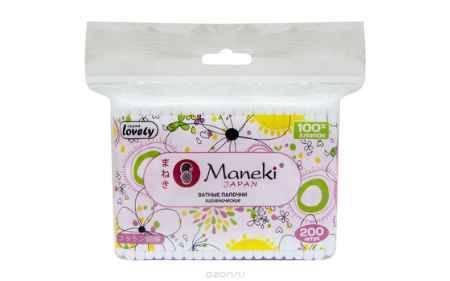 Купить Maneki Палочки ватные гигиен. Lovely, с розовым пластиковым стиком, в zip-пакете, 200 шт.