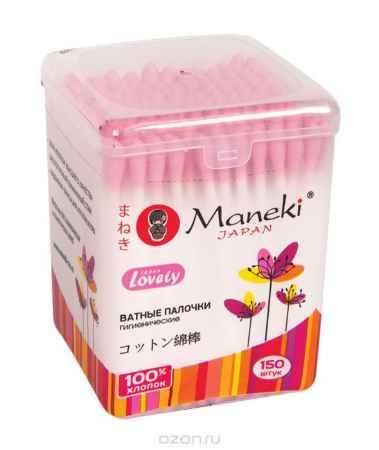Купить Maneki Палочки ватные гигиенические Lovely, с розовым бумажным стиком, в пластиковой коробочке, 150 шт.