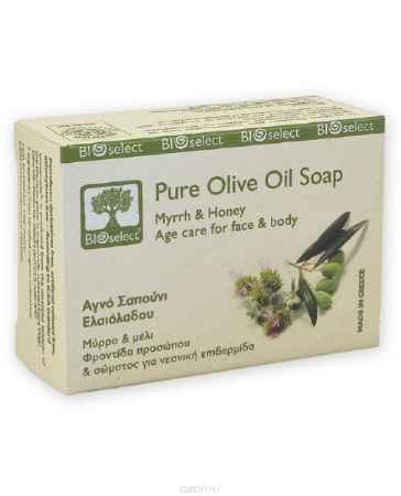Купить BIOselect Натуральное мыло с оливковым маслом, миррой и мёдом, 80 мл