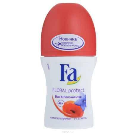 Купить FA Дезодорант роликовый женский Floral Protect Мак & Колокольчик, 50 мл
