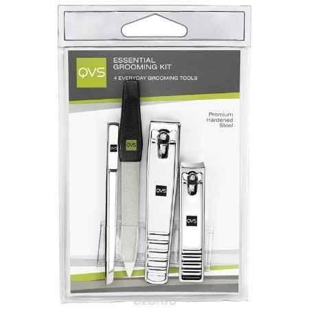 Купить QVS Набор инструментов: кусачки маникюрные, кусачки педикюрные, пилочка для ногтей, пинцет