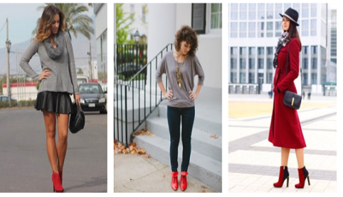 С чем носить красные ботинки женские