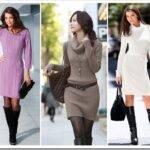 С чем носить вязаное платье до колен