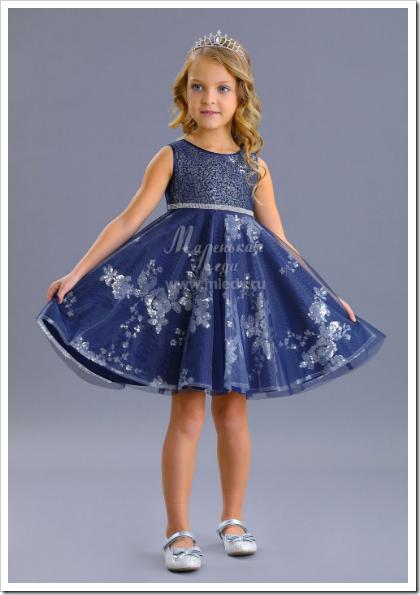 Платье для девочки атласное синее серебро